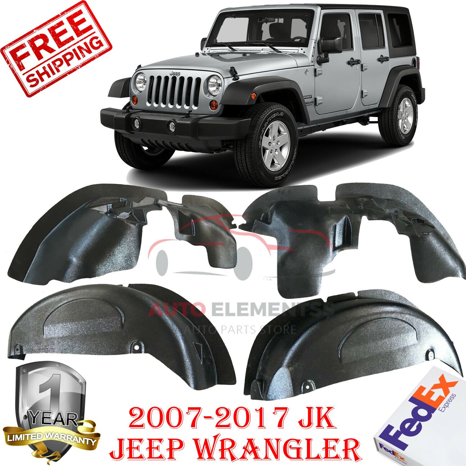 car auto parts Jeep Rear Inner Fender Liners Aluminum Alloy for 2007-2017 Wrangler