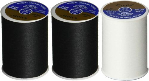 Coats and Clark 2 Black 1 White all purpose thread 400 yard spool 3 Pack