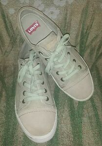 Levis-Beige-Canvas-and-Leather-Sneakers-Size-12-M