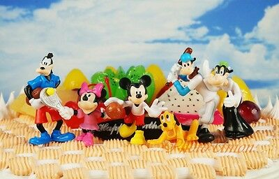 Cake Topper Figure Toy Model Disney Olympics Mickey Minnie Goofy Pluto Cow Set