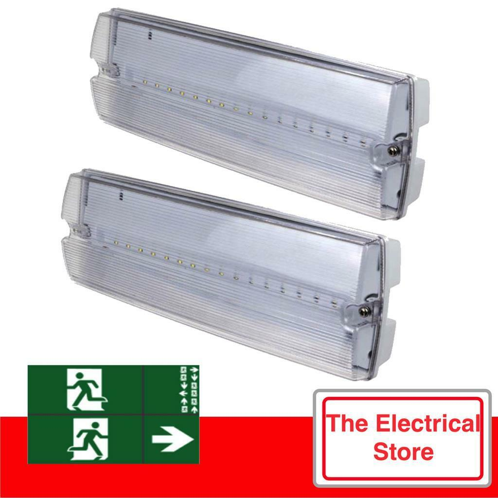 Details About Emergency Led Lights Twin Pack 3watt Bulkhead Exit Sign Ip65 6500k
