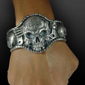 Sterling-Silver-925-Bracelet-Mens-Biker-Skull-Ring-Handmade-Bangle-Harley-Bike