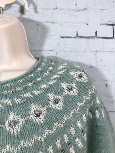 4 Sundance Sleeve Top Knit Small Paillettes Green Mint 3 Sweater Lambswool Blend Zx6Zv1q