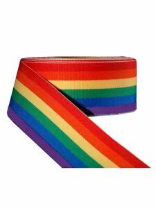 10m Regenbogen/Rainbow-Band 38mm breit Gay Pride Dekoband Geschenkband Textil