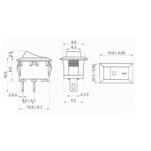 2 x Mini Interruptor basculante 2 Pines rectángulo Preto