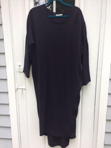 BLACK CRANE Minimalist Plum Rayon & Wool Maxi Dres