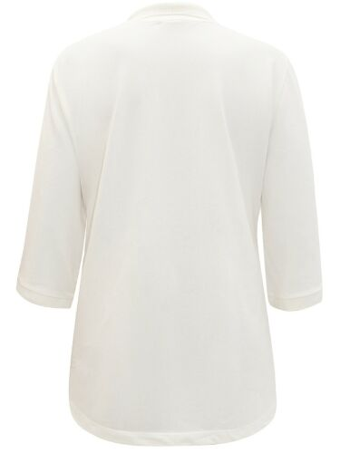 Ulla Popken NEW 3//4 sleeve  Embroidered IVORY Polo shirt Plus Sizes 16 to 34