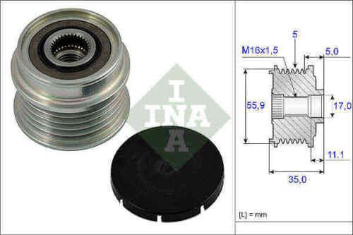 VW PASSAT 3B 1.9D Overrunning Alternator Pulley 96 to 05 Clutch INA 022903119B