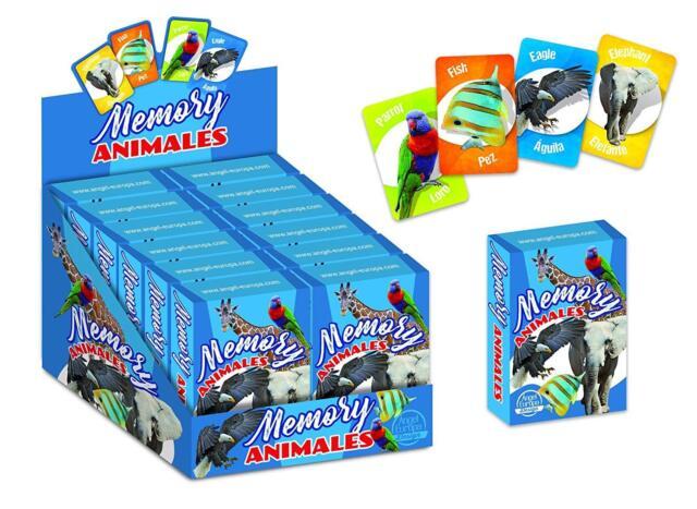 BARAJA INFANTIL JUEGO DE CARTAS MEMORY EN INGLES PARA NIÑOS MEMORIA ANIMALES