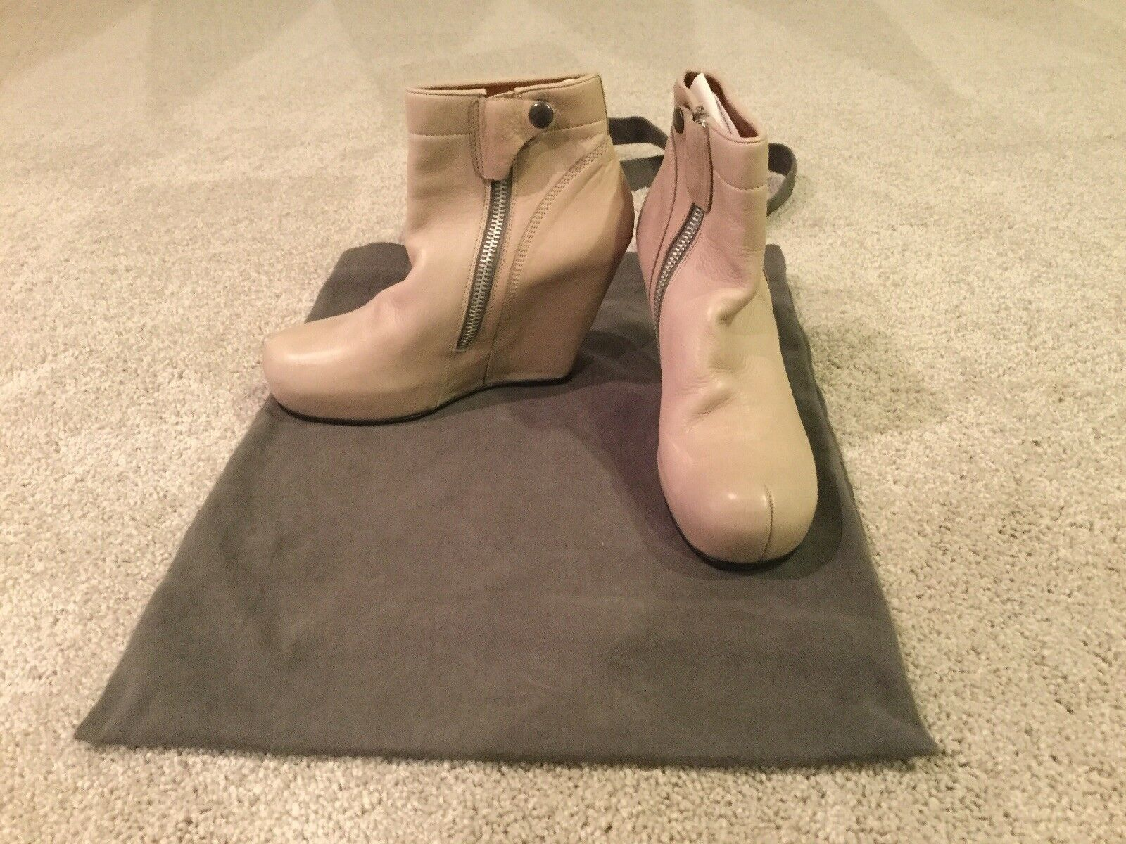 Beige Rick Owens Womens Leather Booties Size 7.5