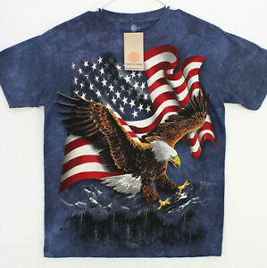 THE MOUNTAIN American Flag Bald Eagle S/S Graphic Art T-SHIRT MEN'S ADULT SMALL
