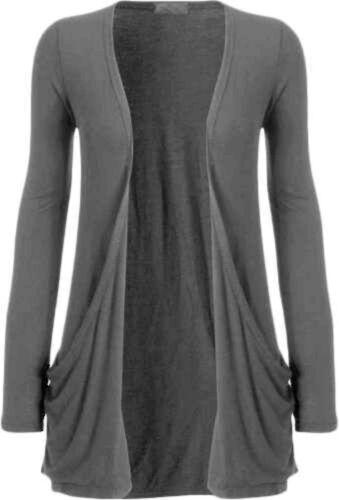 Womens Ladies Plain Long Sleeve Open Boyfriend Two Pocket Cardigan Top UK 8-26