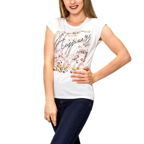 Hailys Damen T-Shirt Metallic Glitter Kurzarmshirt Damenshirt Sommershirt SALE