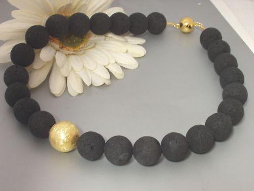 Lava Kette Collier Halskette schwarz 925 Silber Gold Kugel Magnetverschluß Damen