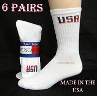 6 Pairs Mens Usa Logo White Lightly Cushioned Cotton Crew Socks Usa Made