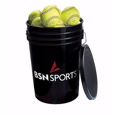 "BSN SPORTS Bucket w/2 dz 11"" PRACTICE Softballs (Brand of balls will vary)"