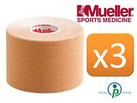 Mueller Kinesiology Sports K Tape 5cm X 5m Beige Triple Pack Muscle Fascia Pain