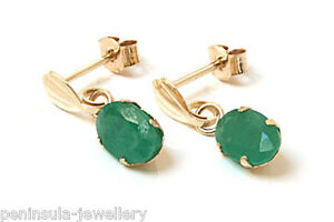 9ct-Gold-Emerald-oval-drop-Earrings-Gift-Boxed-Made-in-UK