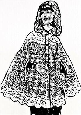 Reproduction 500 Vintage SPIDER WEB CAPE Pattern to Crochet Sz 8-20