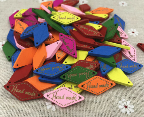 200X Mixed color Wooden /'Hand made/' Lettering 2-hole rhombus sewing Crafts 27mm