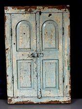 ANTIQUE/VINTAGE INDIAN SHUTTERED WINDOW MIRROR. DISTRESSED EAU DE NIL & PRIMROSE