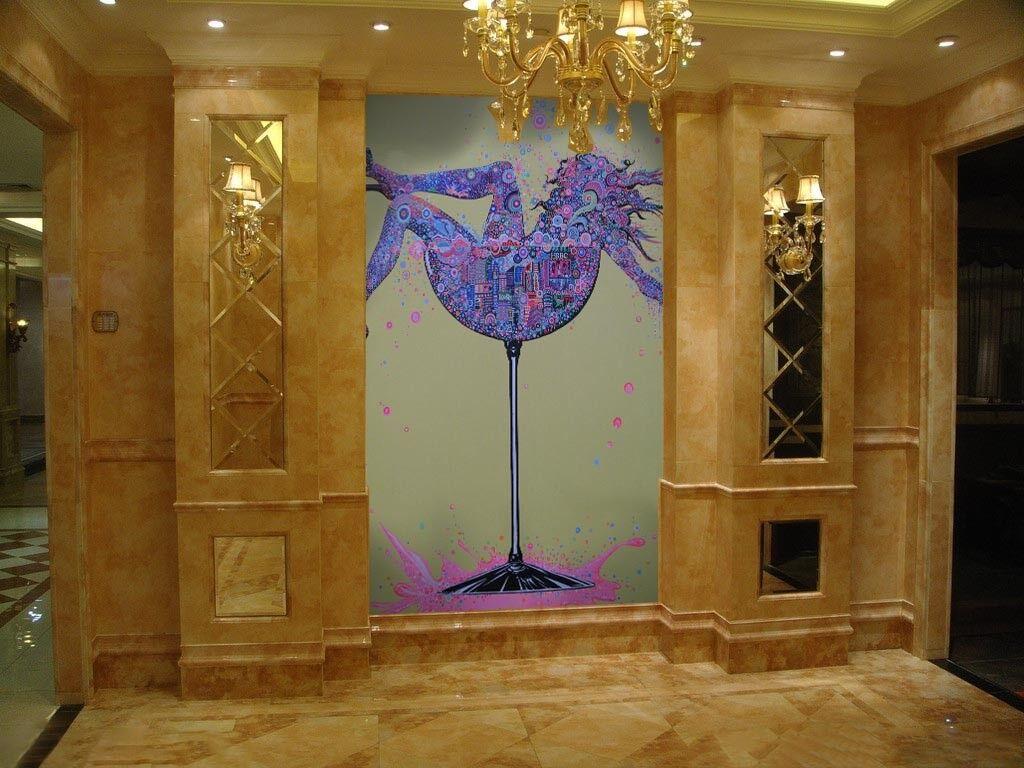 3D Girl Cups 93 Wallpaper Mural Paper Wall Print Wallpaper Murals UK Lemon