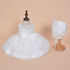 NOUVEAU-filles-dentelle-ivoire-Bapteme-Robe-de-fete-avec-bonnet-0-3-6-9-12-mois