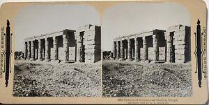 Egitto-Tempio-Da-Sethos-Tebe-Fotografia-Stereo-Vintage-Citrato