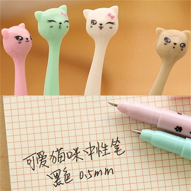 5X Cute Cat Random Kawaii Fun pens black Gel ink Roller Ball Point Pen Set DSUK