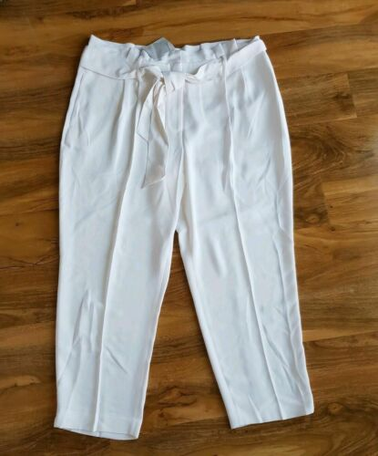 Boden Femme MELINA Paperbag Pantalon raccourci T0106 Ivoire NEUF