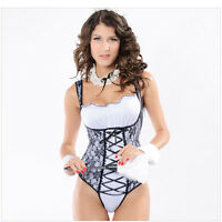Ladies Sexy French Maid Lace Fancy Dress Fun Party Hen Costume Outfit Wear 6141