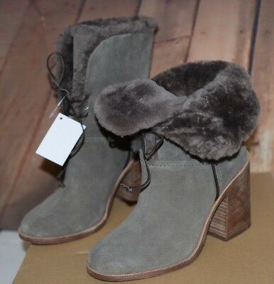 9a11d0a6f30 NIB UGG Jerene Sz 5 MSE Gray Block Heel Suede Boots Sheepskin Lace ...