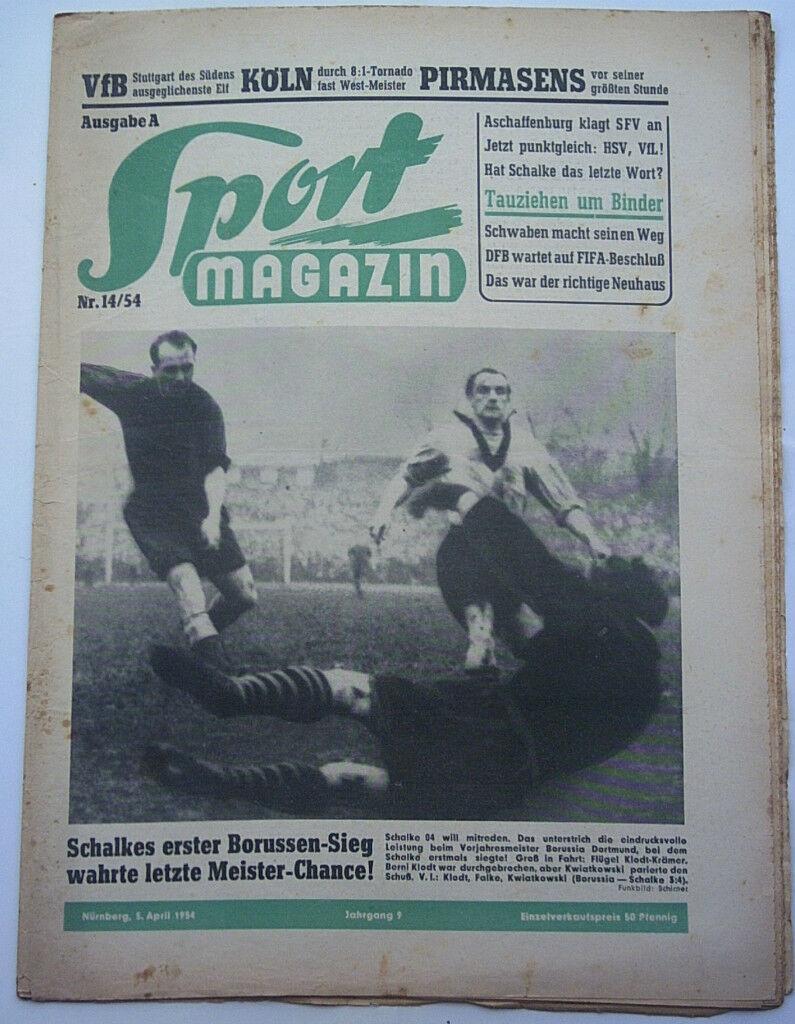 Orig.Zeitung   Sport Magazin  vom 05.04.1954  Spiele Statistiken Bilder      TOP  | Qualifizierte Herstellung