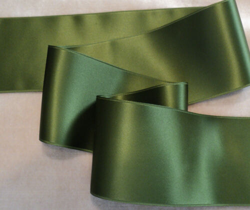 "1-1//2/"" WIDE SWISS DOUBLE FACE SATIN RIBBON BY THE YARD MOSS GREEN"
