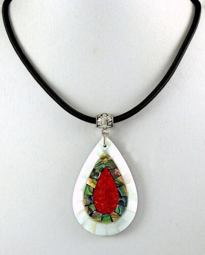 Coquille d/'Haliotide Corail Rouge Nacre Pendentif Perle Cordon Collier Bijoux CA423