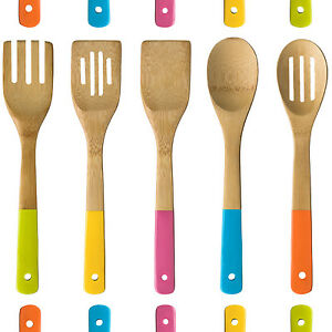 Image Is Loading 5 Piece Colour Handle Wooden Kitchen Five Utensil