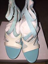 New Calvin Klein White Teal Open Toe Slingback Wedge Sandal  Women Size 8 US
