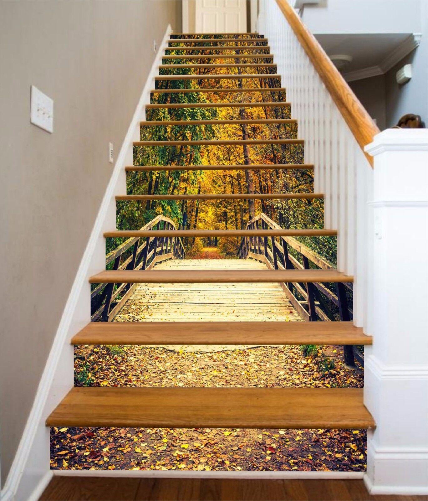 3D Tree Bridge 7845 Stair Risers Decoration Photo Mural Vinyl Decal Wallpaper AU