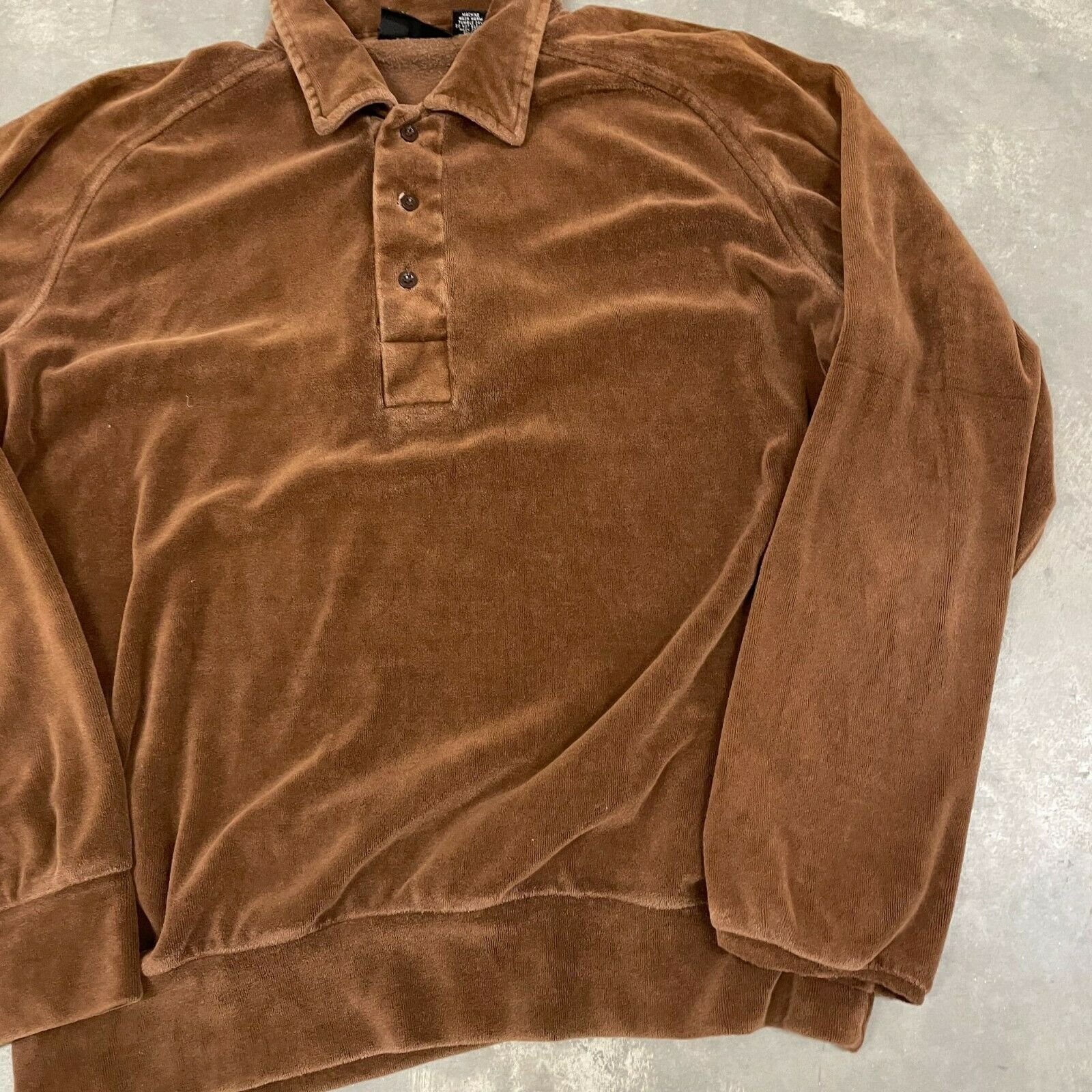 70s VTG Brown Velour Polo Pullover Sweater Cool X… - image 4