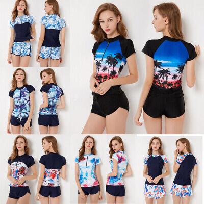 Women Rash Guard Short Sleeve Shirt Swimwear Shorts Set Uv Protection Surfing Ebay