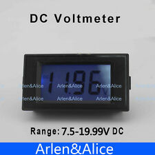 LCD Digital Panel Voltmeter DC 7.5-19.99V Blue backlingt DC Monitor voltage mete