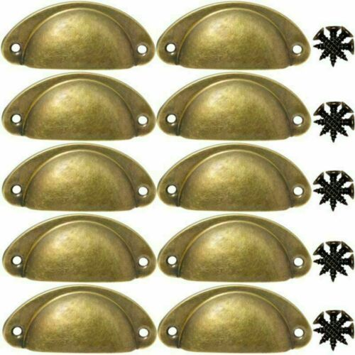 10PCS Retro Cup Handle Shell Pull Kitchen Cupboard Cabinet Door Furniture Drawer