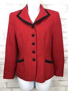 Pendleton-Vintage-Blaze-Red-Black-Trim-Lined-100-Wool-Blazer-Suit-Jacket-Size-6