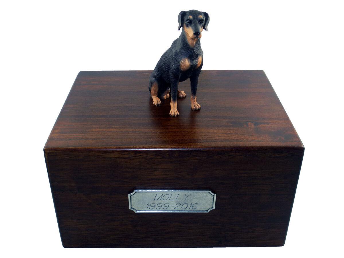Beautiful Paulownia Wooden Personalized Urn Blk Doberman Pinscher Uncrp Figurine