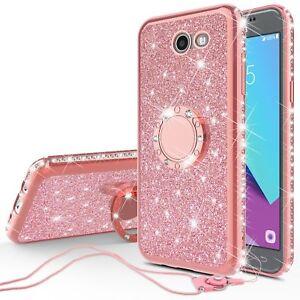 big sale b57ec fdfaf Details about Galaxy J7 Prime/J7 Perx Bling Bumper Phone Case for Girls  Ring Kickstand Pink