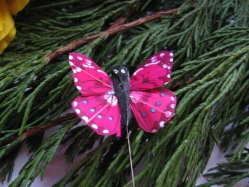 Speckled Design 4.0cm Set of 2 Small Fuchsia Pink Feather Butterfly