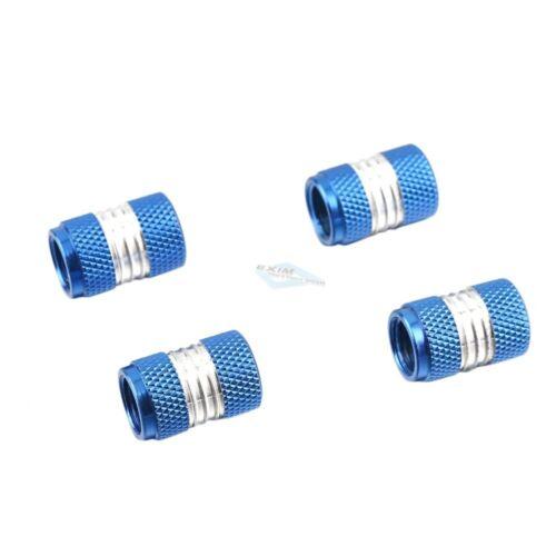 Válvula de aluminio tapas neumáticos válvulas capuchón 4 unidades ALU azul