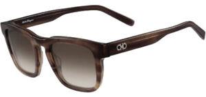 Salvatore-Ferragamo-Men-039-s-Striped-Brown-Squared-Classic-Sunglasses-SF827S-216