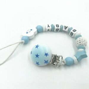Personalised Name Wooden Baby Dummy Clip Crochet Beads Star Pacifier