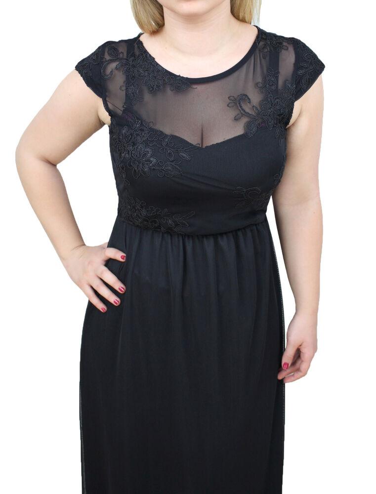 3223 - Robe Femme Noir Long Made In Italy Élégante Cérémonie Floral En Dentelle
